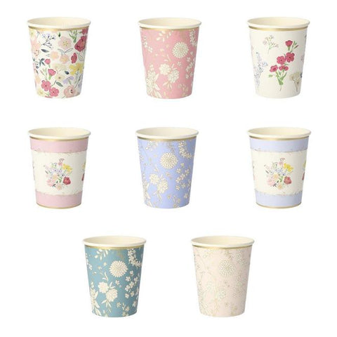 English Garden Lace party cups with floral print, perfect for a tea party. By Meri Meri, available at A Little Confetti