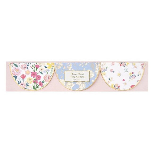 English Garden Scalloped Garland with floral print, perfect for a tea party. By Meri Meri, available at A Little Confetti