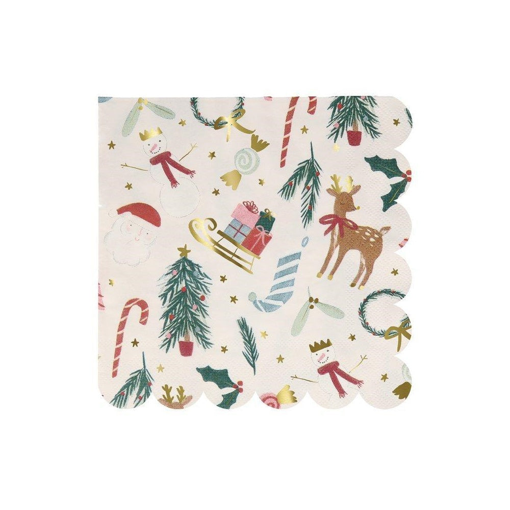 Festive Motif Large Napkins with snowmen, reindeer, candy cane, Santa. At A little Confetti