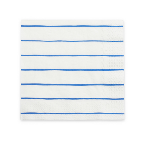 Blue Frenchie Striped Large Napkins