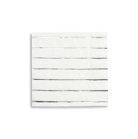 Silver Frenchie Striped Large Napkins - A Little Confetti