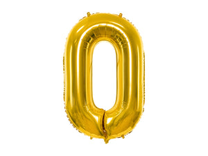 34 inch jumbo gold number 0 foil balloon available at A Little Confetti