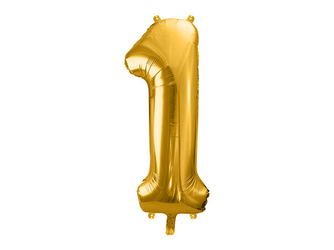 34 inch jumbo gold number 1 foil balloon available at A Little Confetti