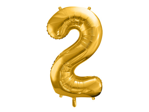 34 inch jumbo gold number 2 foil balloon available at A Little Confetti