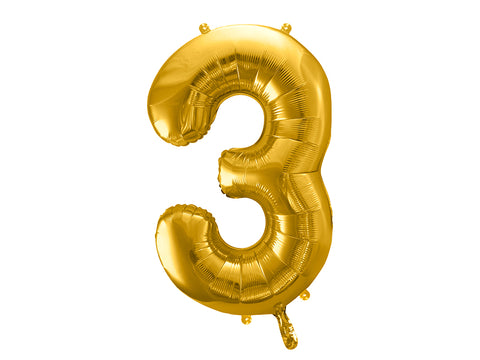 34 inch jumbo gold number 3 foil balloon available at A Little Confetti
