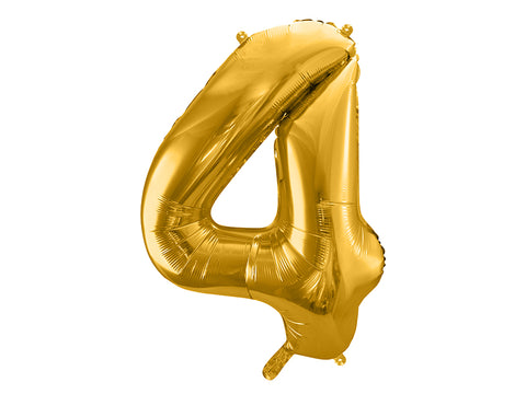 34 inch jumbo gold number 4 foil balloon available at A Little Confetti