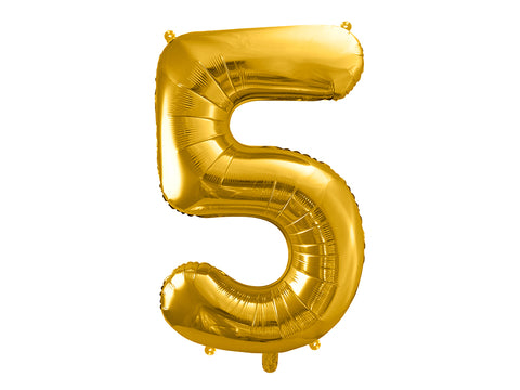 34 inch jumbo gold number 5 foil balloon available at A Little Confetti