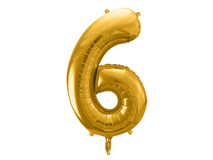 34 inch jumbo gold number 6 foil balloon available at A Little Confetti