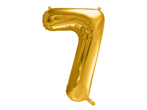 34 inch jumbo gold number 7 foil balloon available at A Little Confetti