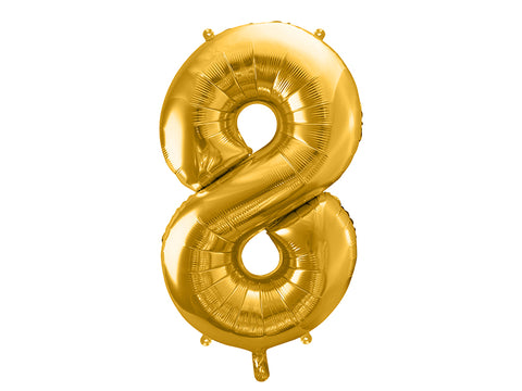 34 inch jumbo gold number 8 foil balloon available at A Little Confetti