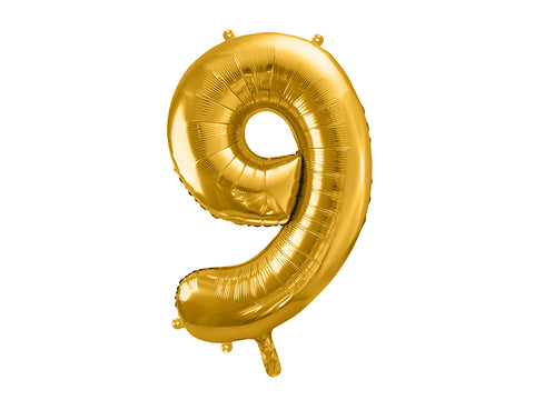 34 inch jumbo gold number 9 foil balloon available at A Little Confetti