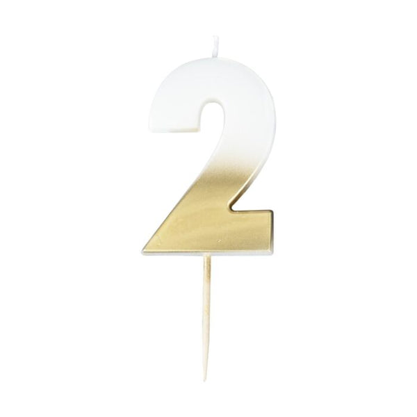Number 2 Gold Ombre Birthday Candle