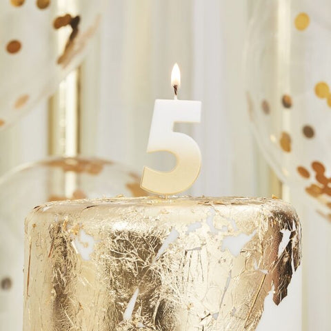 Number 5 Gold Ombre Birthday Candle