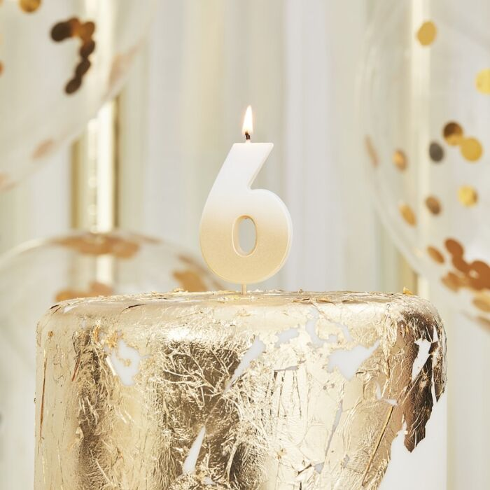 Number 6 Gold Ombre Birthday Candle