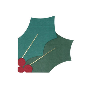 Holly and berry leaf shaped napkins perfect for christmas celebrations at A Little Confetti