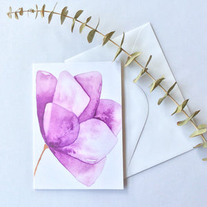 Purple Watercolour Flower Card - A Little Confetti