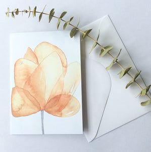 Yellow Watercolour Flower Card - A Little Confetti
