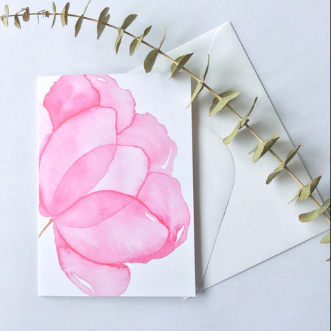 Pink Watercolour Flower Card - A Little Confetti