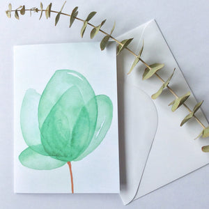Green Watercolour Flower Card - A Little Confetti