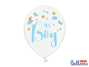 """It's a Boy"" Pastel Pure White 12"" Sky Blue Gold Colour Balloon available at A Little Confetti"
