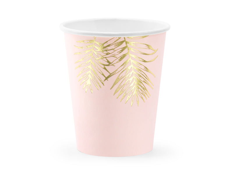 Leaves in light pink colour with gold leaves design Paper cups available at A Little Confetti