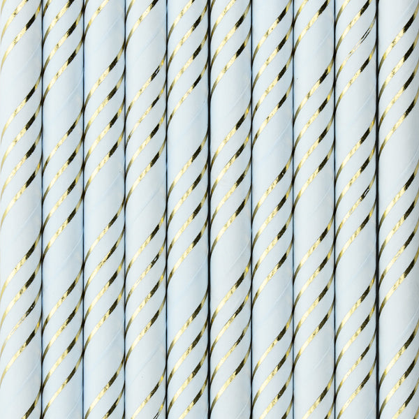 Light Blue and metallic gold slanted striped paper straws available at A Little Confetti