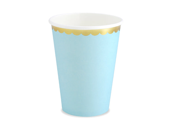 Light Blue Gold Trimmed Cups