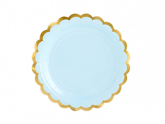 Light blue scalloped gold trimmed yummy paper plates by party deco available at A Little Confetti