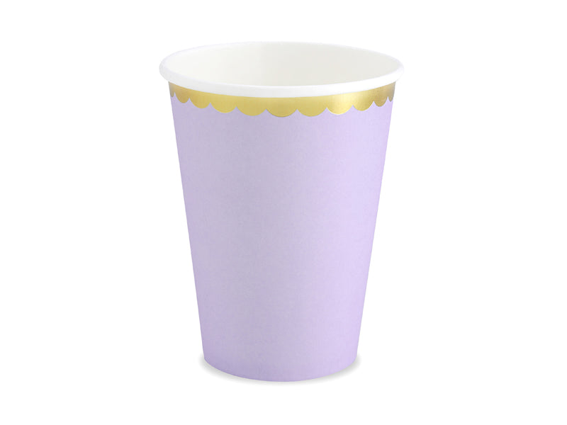 Light lilac gold trimmed yummy paper party cups by party deco available at A Little Confetti