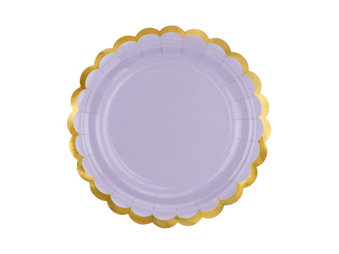 Light lilac yummy gold scalloped trimmed party plates by party deco available at A Little Confetti