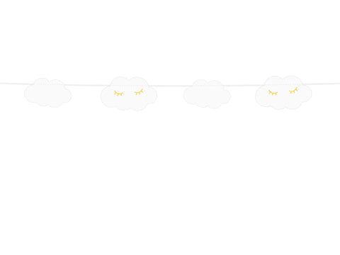 Sewn garland with clouds and little star in gold print available at A Little Confetti