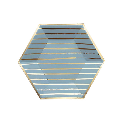 Malibu Blue Striped Small Plate - A Little Confetti