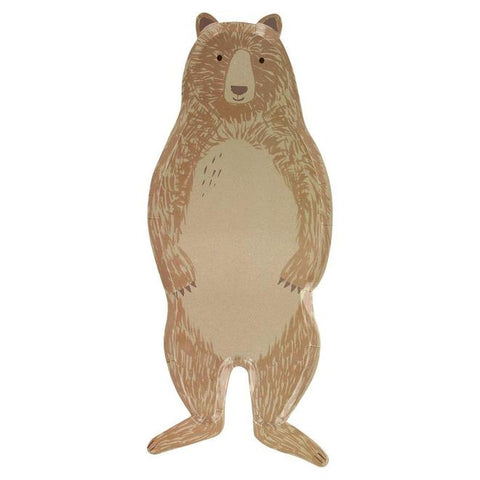 Brown Bear Large Plates, feature a standing bear and are perfect for that camping or woodland party. By Meri Meri, available at A Little Confetti