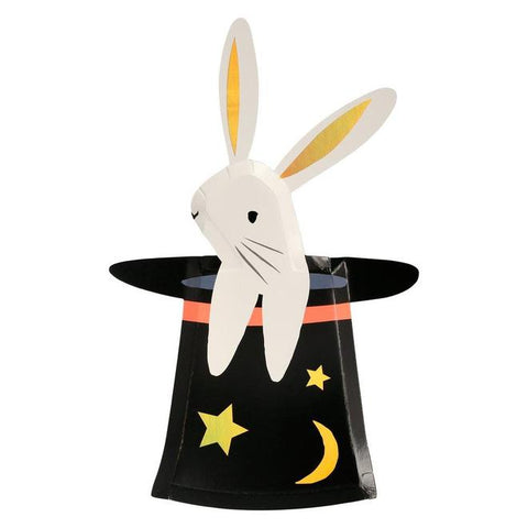 Meri Meri Bunny in hat shaped plates are perfect for your magic party. Featuring a magician hat with stars and moons. Available at A little Confetti.