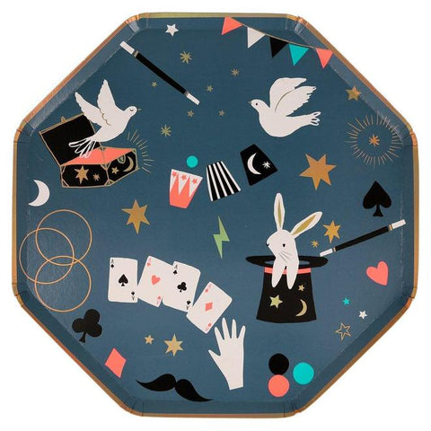 Meri Meri Magic Plates for a magic party, with bunny in a hat, magicians wand, dove, aces, cards. Available at A Little Confetti