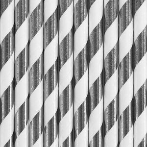 Metallic Silver and white striped paper straws available at A Little Confetti