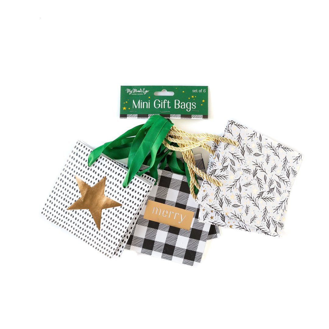 Mini black and white gift bags, star, plaid, foliage