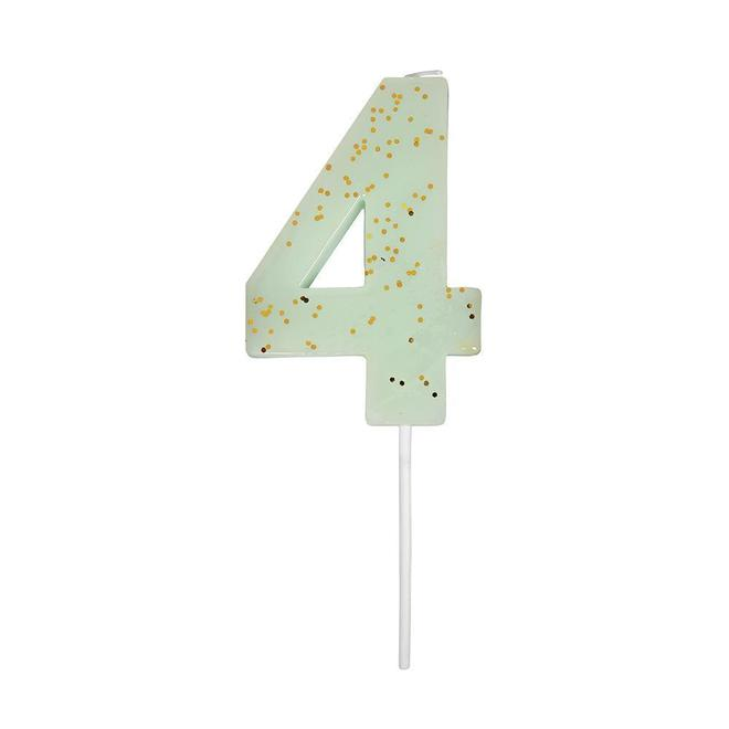 Number 4 Glitter Candle