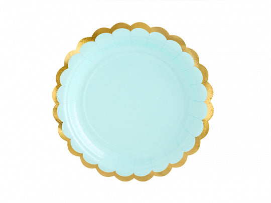 Mint scalloped gold trimmed yummy party plates by party deco available at A Little Confetti