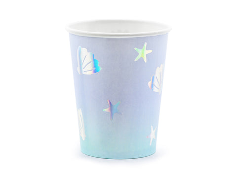 Purple blue ombre cups with iridescent foil shells and starfish perfect for an under the sea themed party. Available at A Little Confetti.