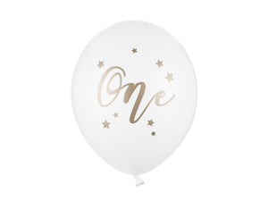 One Pastel Pure White and Gold Colour Balloons available at A Little Confetti