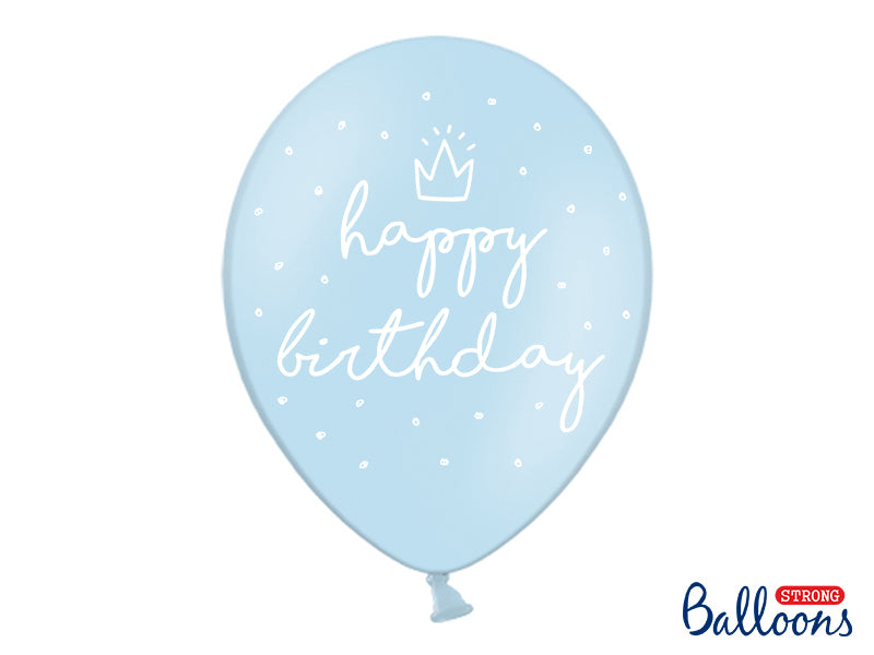 Pastel Baby Blue Happy Birthday with white five-sided print balloons available at A Little Confetti