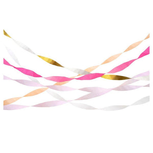 Set of pink and gold streamers by Meri Meri at A Little Confetti