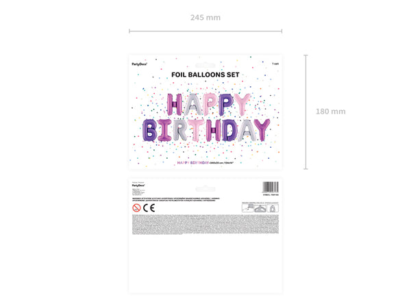 Pink & Purple Happy Birthday Foil Balloon