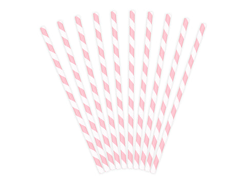Light pink striped paper straws available at A Little Confetti