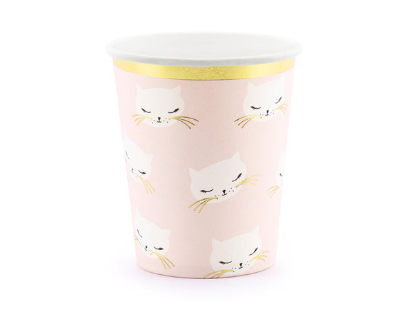 Pink cups with white cats and gold trim available at A Little Confetti