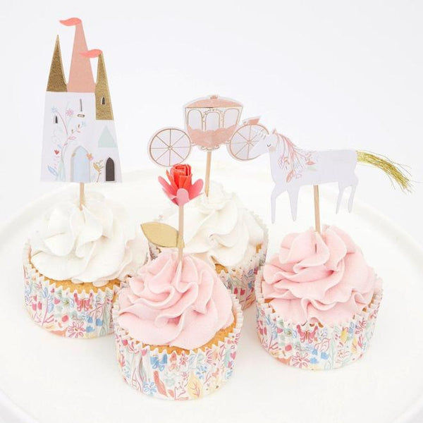 Meri Meri's Princess Cupcake kit. With carriage, castle, unicorn and floral cupcake toppers. Floral Baking cups included. Available at A Little Confetti.