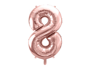 34 inch jumbo rose gold number 8 foil balloon available at A Little Confetti