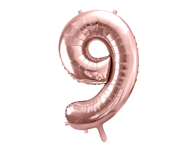 34 inch jumbo rose gold number 9 foil balloon available at A Little Confetti