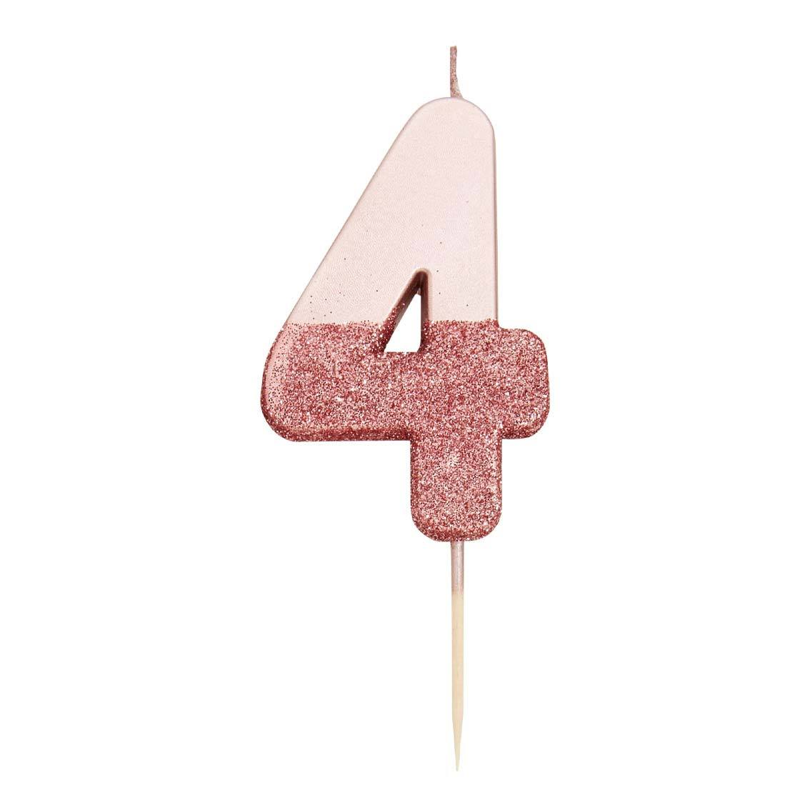 Rose Gold Glitter Dipped Number 4 Candles at A Little Confetti